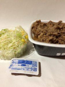 吉野家の牛丼と生野菜サラダ(持ち帰り)の写真