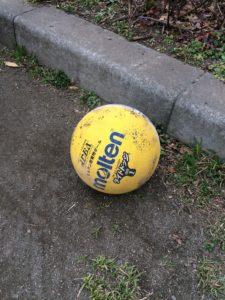 公園に落ちていたドッジボール用のボールの写真