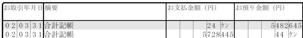 三菱UFJ銀行の未記帳分の画像