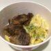 松屋の牛リブロースのカットステーキ定食の写真
